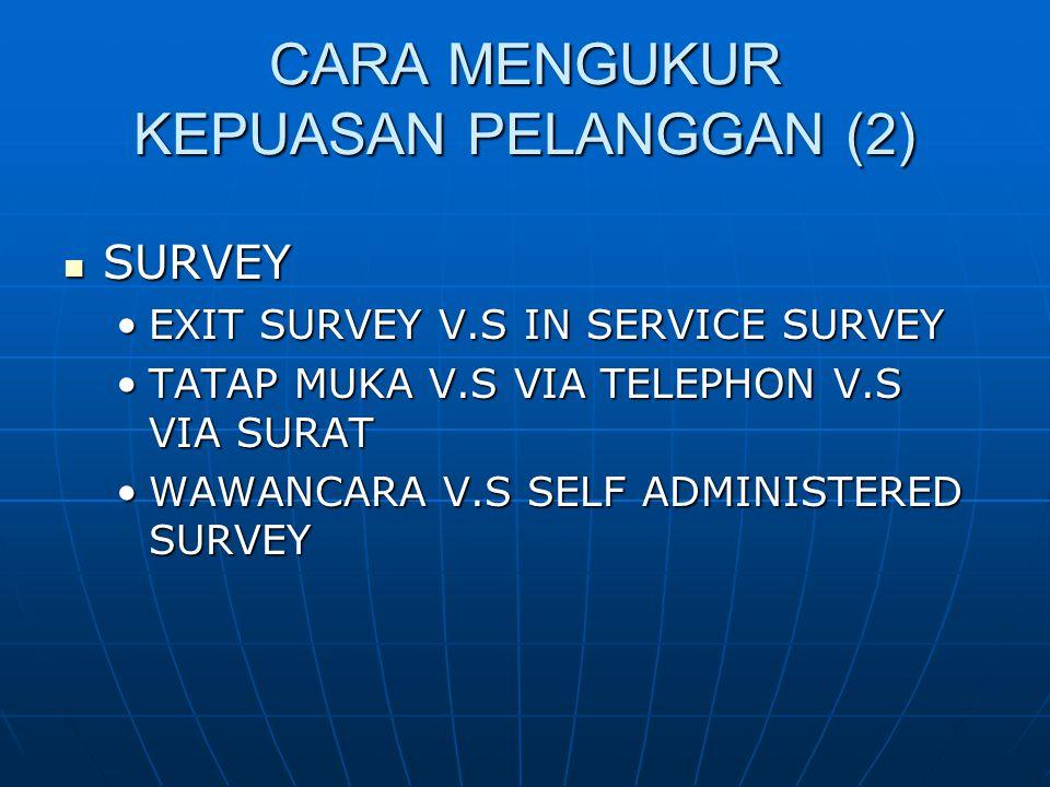 CARA MENGUKUR KEPUASAN PELANGGAN (2) SURVEY SURVEY EXIT SURVEY V.S IN SERVICE SURVEYEXIT SURVEY V.S IN SERVICE SURVEY TATAP MUKA V.S VIA TELEPHON V.S VIA SURATTATAP MUKA V.S VIA TELEPHON V.S VIA SURAT WAWANCARA V.S SELF ADMINISTERED SURVEYWAWANCARA V.S SELF ADMINISTERED SURVEY