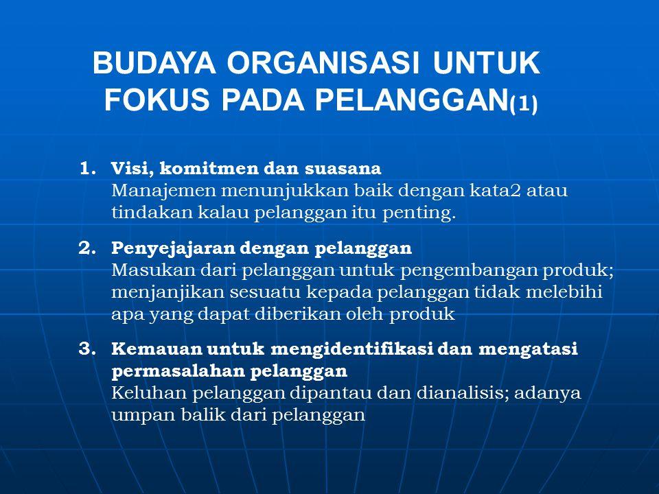 BUDAYA ORGANISASI UNTUK FOKUS PADA PELANGGAN (1) 1.