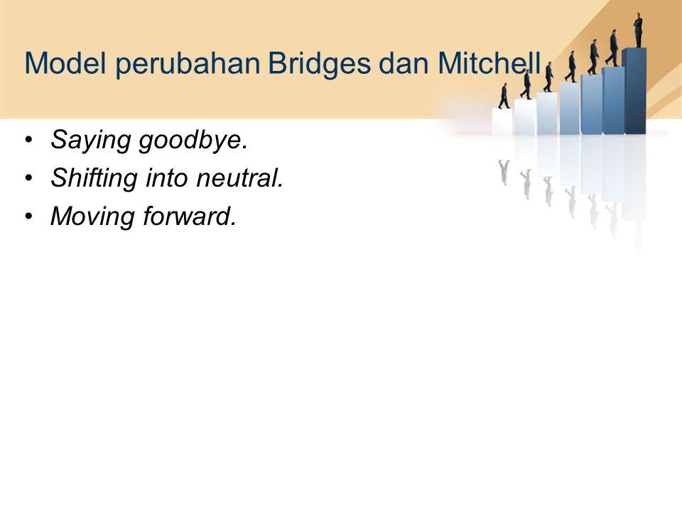 Model perubahan Bridges dan Mitchell Saying goodbye. Shifting into neutral. Moving forward.