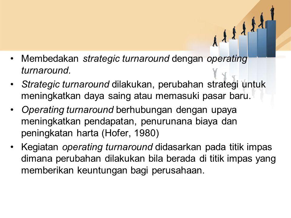 Membedakan strategic turnaround dengan operating turnaround. Strategic turnaround dilakukan, perubahan strategi untuk meningkatkan daya saing atau mem