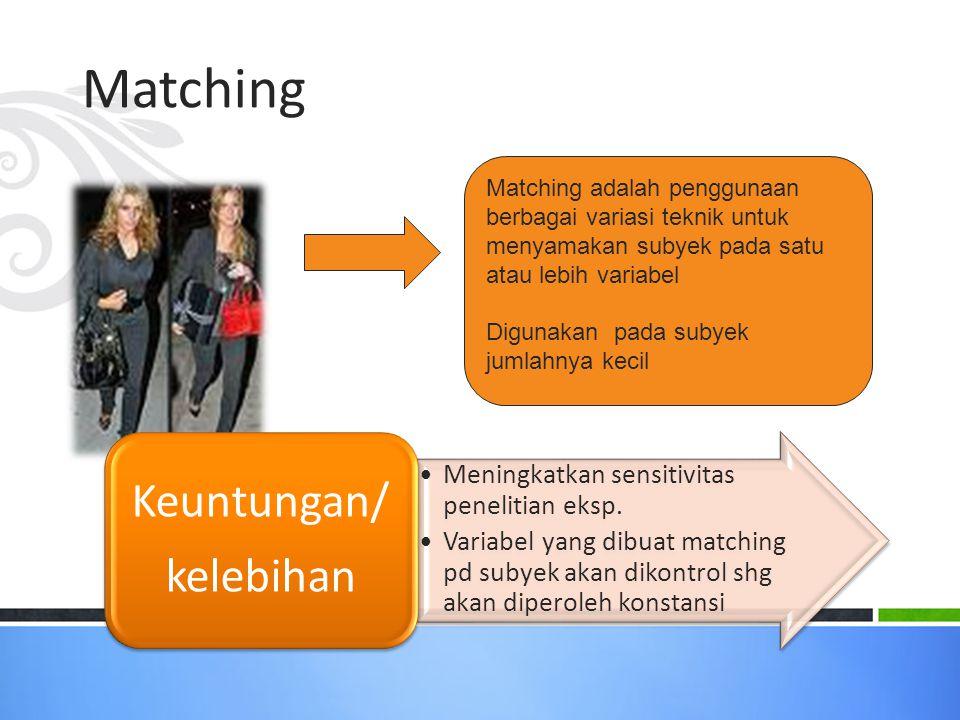 Matching Matching adalah penggunaan berbagai variasi teknik untuk menyamakan subyek pada satu atau lebih variabel Digunakan pada subyek jumlahnya kecil Meningkatkan sensitivitas penelitian eksp.