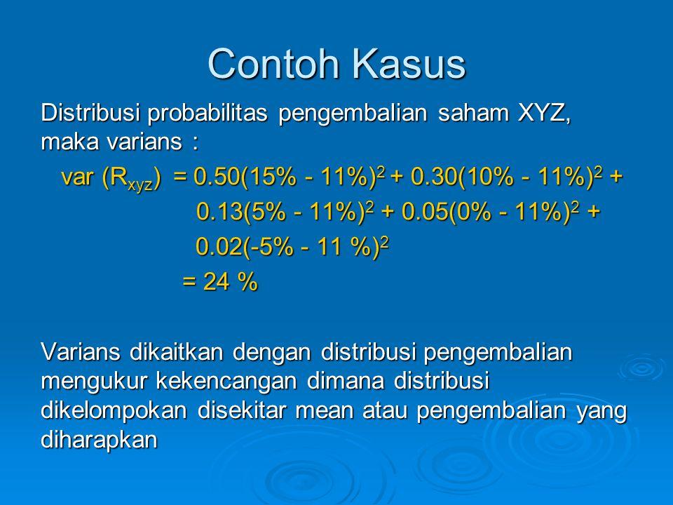 Contoh Kasus Distribusi probabilitas pengembalian saham XYZ, maka varians : var (R xyz ) = 0.50(15% - 11%) 2 + 0.30(10% - 11%) 2 + var (R xyz ) = 0.50