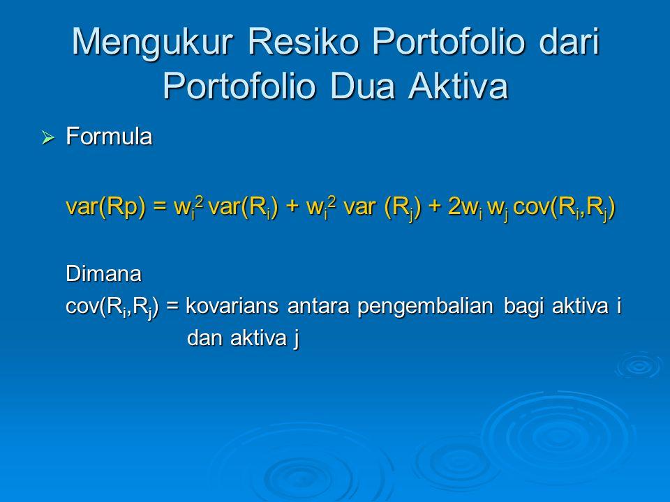 Mengukur Resiko Portofolio dari Portofolio Dua Aktiva  Formula var(Rp) = w i 2 var(R i ) + w i 2 var (R j ) + 2w i w j cov(R i,R j ) Dimana cov(R i,R
