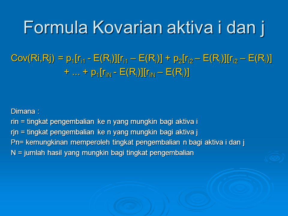 Formula Kovarian aktiva i dan j Cov(Ri,Rj) = p 1 [r i1 - E(R i )][r i1 – E(R i )] + p 2 [r i2 – E(R i )][r i2 – E(R i )] +... + p 1 [r iN - E(R i )][r