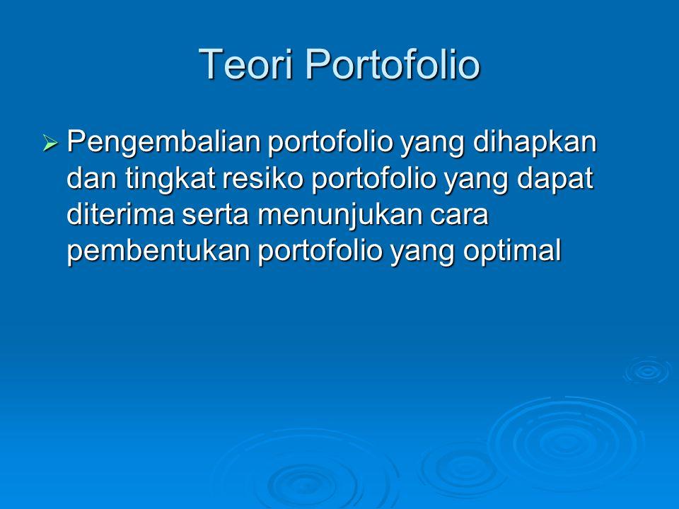 Teori Portofolio  Pengembalian portofolio yang dihapkan dan tingkat resiko portofolio yang dapat diterima serta menunjukan cara pembentukan portofoli