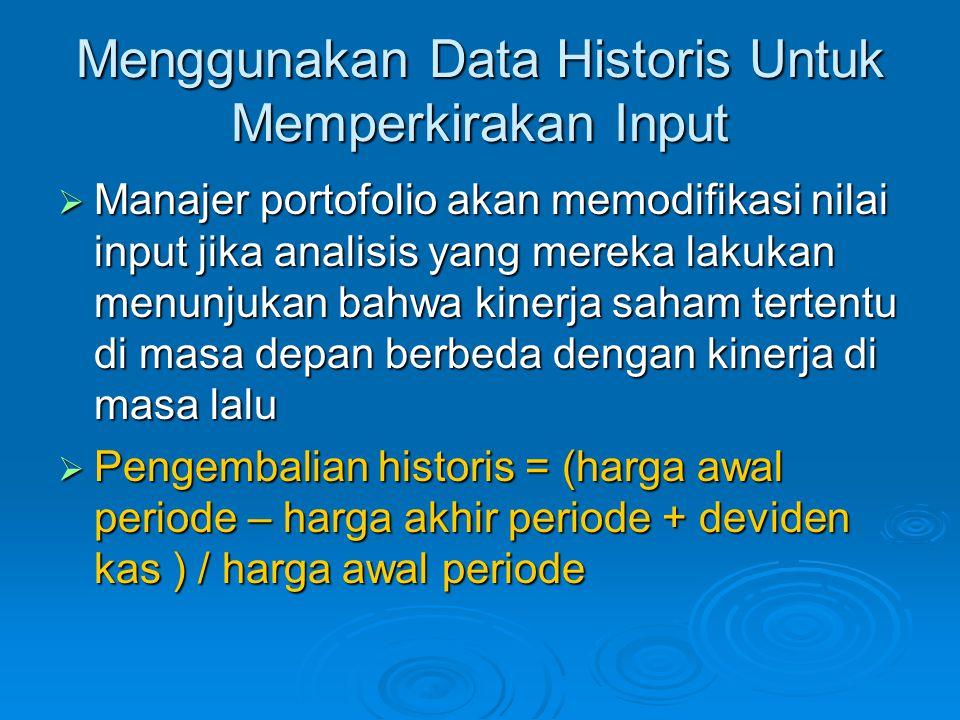 Menggunakan Data Historis Untuk Memperkirakan Input  Manajer portofolio akan memodifikasi nilai input jika analisis yang mereka lakukan menunjukan ba