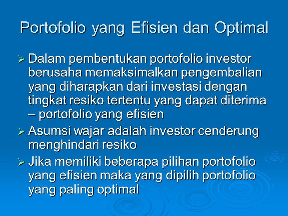 Portofolio yang Efisien dan Optimal  Dalam pembentukan portofolio investor berusaha memaksimalkan pengembalian yang diharapkan dari investasi dengan