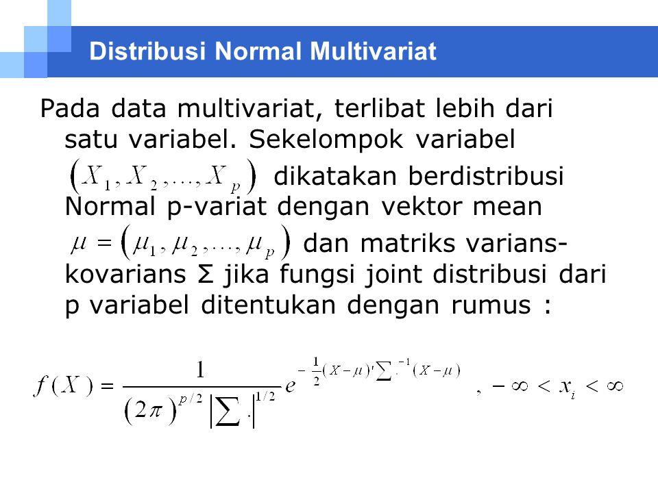 Distribusi Normal Multivariat Pada data multivariat, terlibat lebih dari satu variabel. Sekelompok variabel dikatakan berdistribusi Normal p-variat de