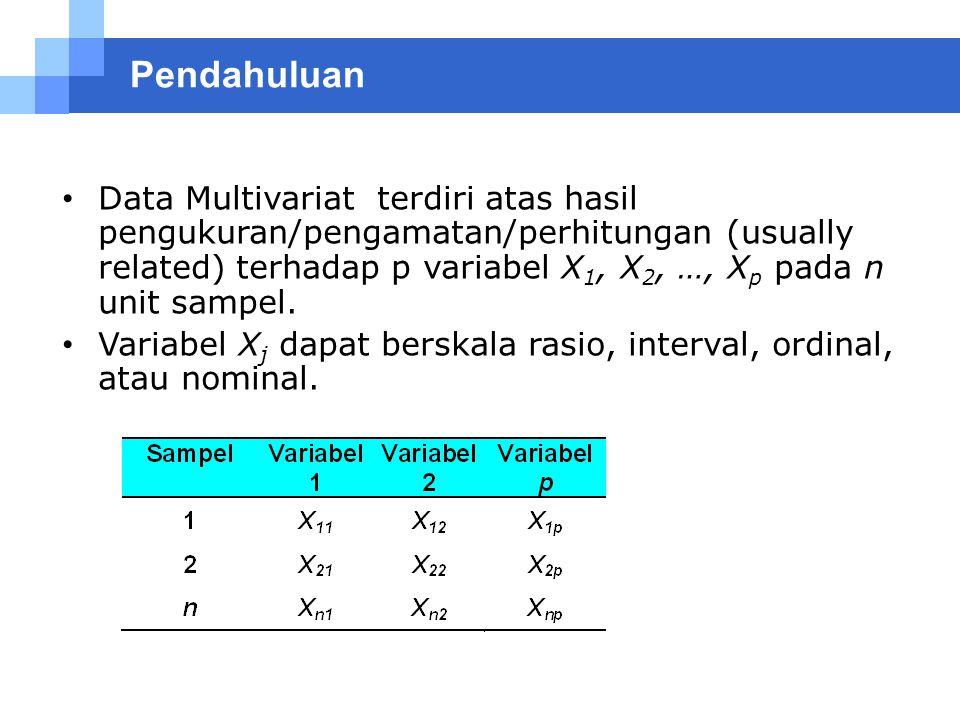 Pendahuluan Data Multivariat terdiri atas hasil pengukuran/pengamatan/perhitungan (usually related) terhadap p variabel X 1, X 2, …, X p pada n unit s