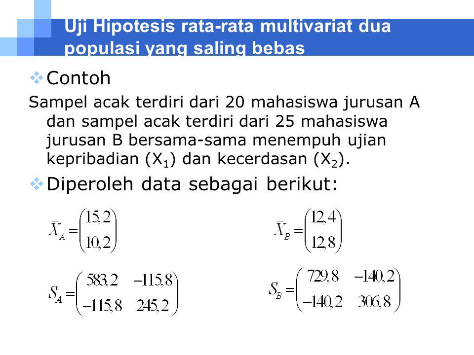 Uji Hipotesis rata-rata multivariat dua populasi yang saling bebas  Contoh Sampel acak terdiri dari 20 mahasiswa jurusan A dan sampel acak terdiri da