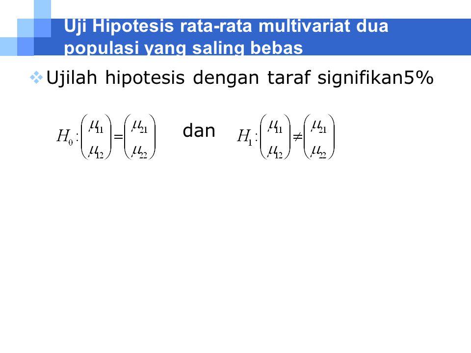 Uji Hipotesis rata-rata multivariat dua populasi yang saling bebas  Ujilah hipotesis dengan taraf signifikan5% dan