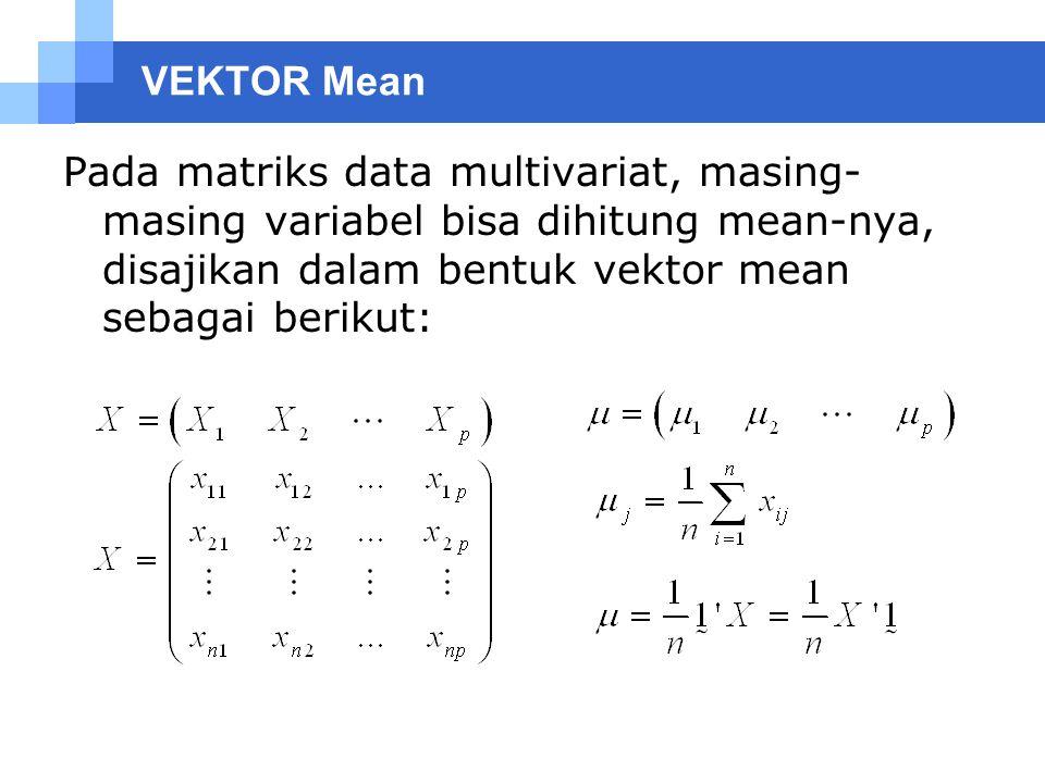 Matriks Varian Kovarian Pada data univariat, variansi dan kovariansi dirumuskan : Pada data multivariat, terdapat matrik varians kovarians, yaitu gabungan dari variasi tiap variabel dan kovariansi pada dua variabel yang berbeda.