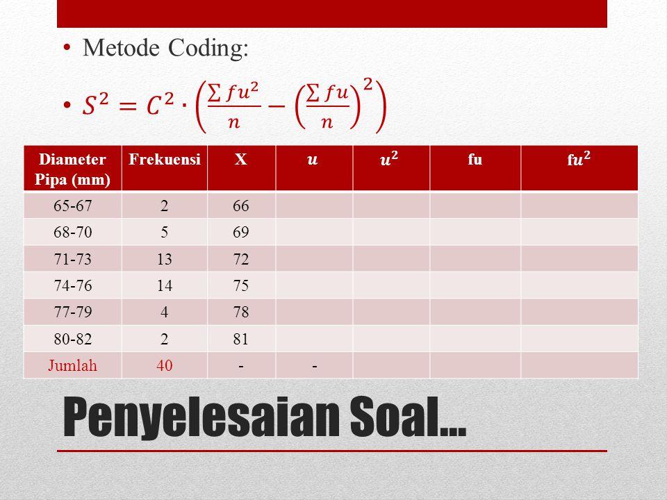Penyelesaian Soal... Diameter Pipa (mm) FrekuensiXfu 65-67266 68-70569 71-731372 74-761475 77-79478 80-82281 Jumlah40--