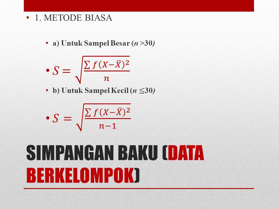 SIMPANGAN BAKU (DATA BERKELOMPOK)