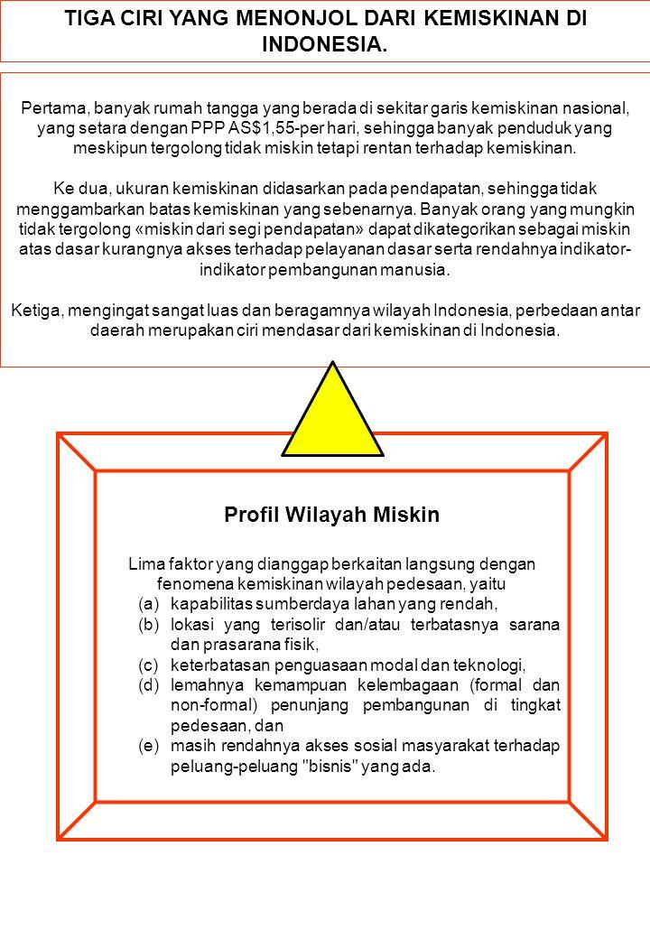 TIGA CIRI YANG MENONJOL DARI KEMISKINAN DI INDONESIA. Pertama, banyak rumah tangga yang berada di sekitar garis kemiskinan nasional, yang setara denga