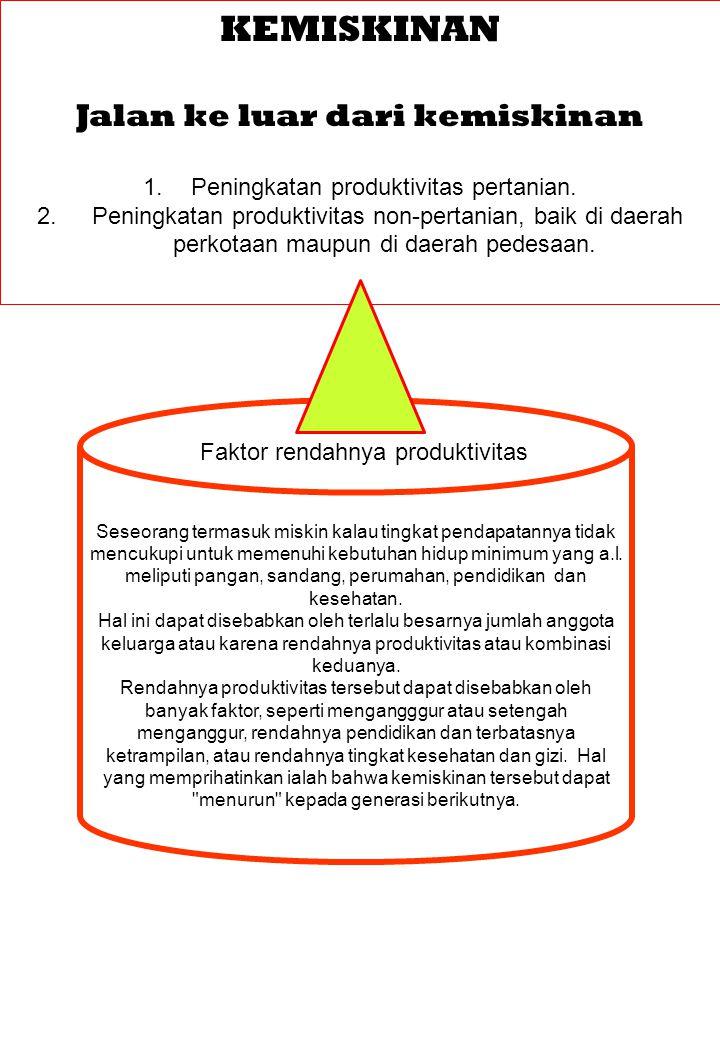 KEMISKINAN Jalan ke luar dari kemiskinan 1.Peningkatan produktivitas pertanian. 2. Peningkatan produktivitas non-pertanian, baik di daerah perkotaan m