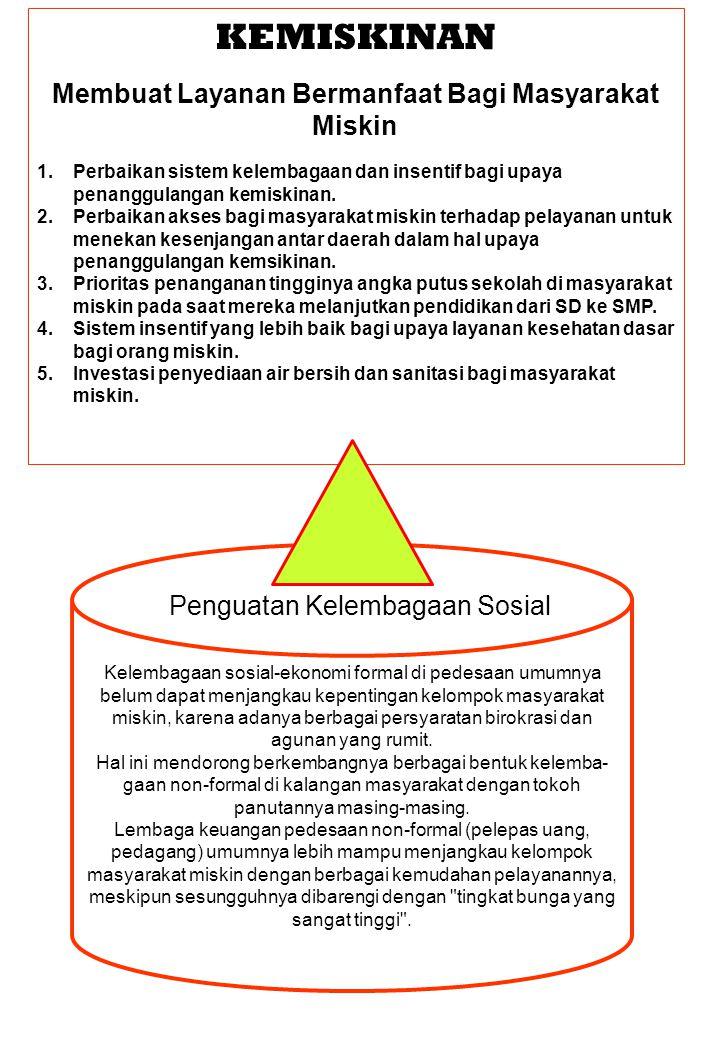 KEMISKINAN Membuat Layanan Bermanfaat Bagi Masyarakat Miskin 1.Perbaikan sistem kelembagaan dan insentif bagi upaya penanggulangan kemiskinan. 2.Perba