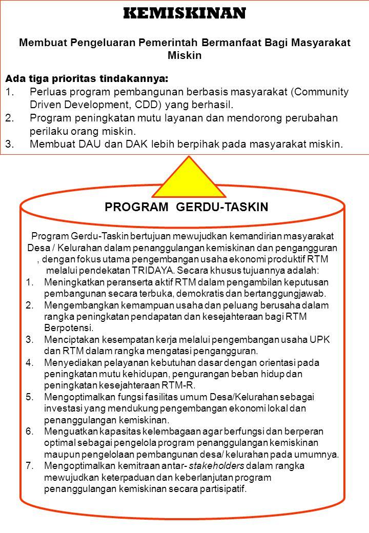 KEMISKINAN Membuat Pengeluaran Pemerintah Bermanfaat Bagi Masyarakat Miskin Ada tiga prioritas tindakannya: 1.Perluas program pembangunan berbasis masyarakat (Community Driven Development, CDD) yang berhasil.