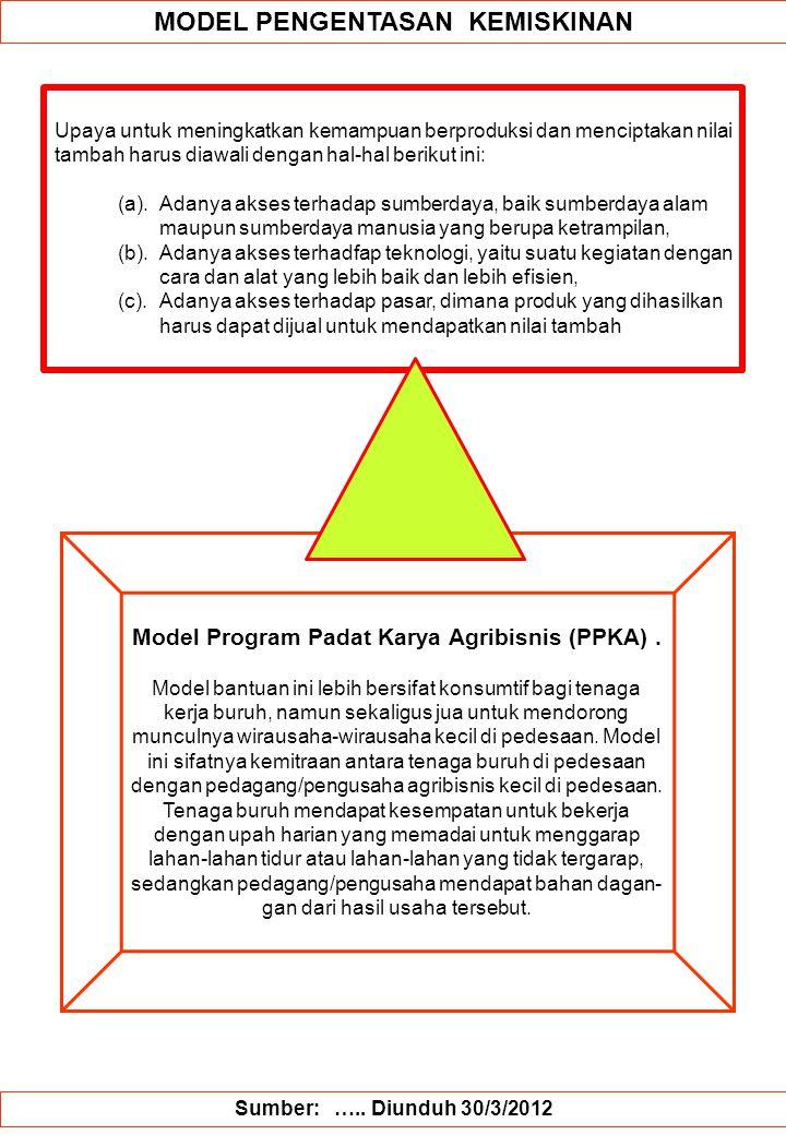 MODEL PENGENTASAN KEMISKINAN Model Program Padat Karya Agribisnis (PPKA). Model bantuan ini lebih bersifat konsumtif bagi tenaga kerja buruh, namun se