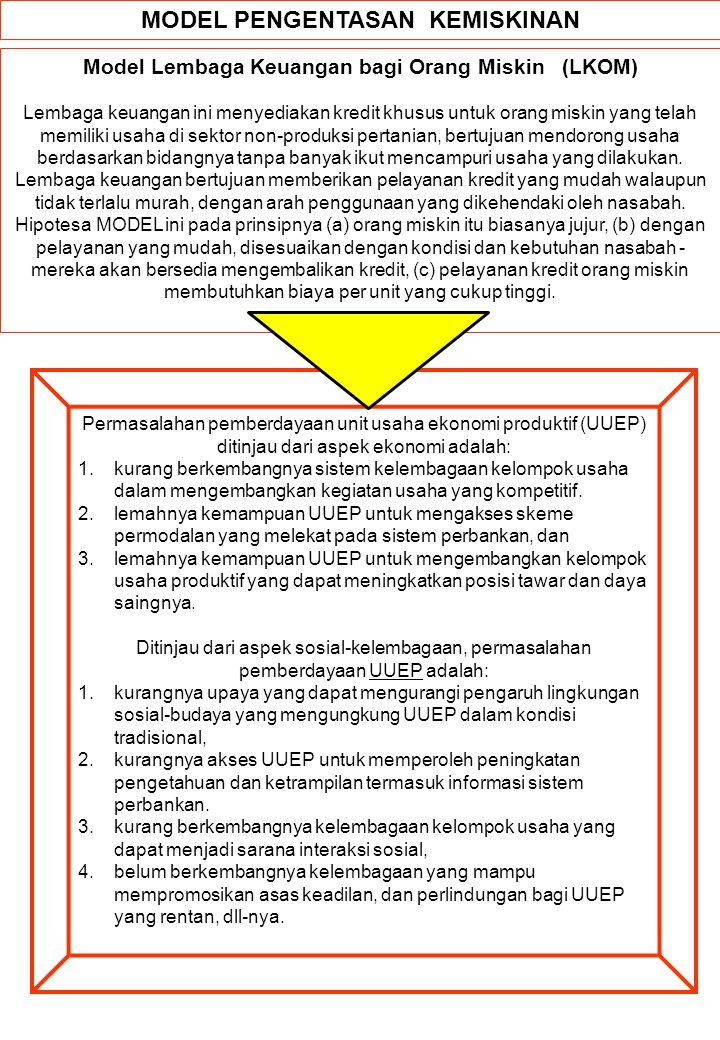 MODEL PENGENTASAN KEMISKINAN Model Lembaga Keuangan bagi Orang Miskin (LKOM) Lembaga keuangan ini menyediakan kredit khusus untuk orang miskin yang te