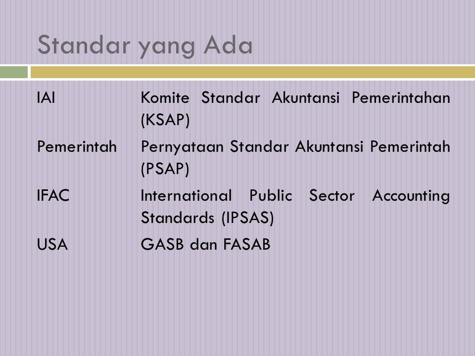 Standar yang Ada IAIKomite Standar Akuntansi Pemerintahan (KSAP) PemerintahPernyataan Standar Akuntansi Pemerintah (PSAP) IFACInternational Public Sector Accounting Standards (IPSAS) USAGASB dan FASAB