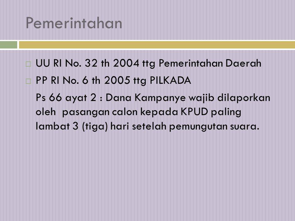 Pemerintahan  UU RI No.32 th 2004 ttg Pemerintahan Daerah  PP RI No.