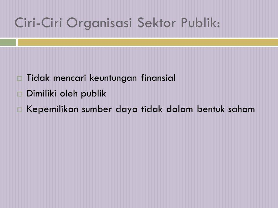 Ciri-Ciri Organisasi Sektor Publik:  Tidak mencari keuntungan finansial  Dimiliki oleh publik  Kepemilikan sumber daya tidak dalam bentuk saham
