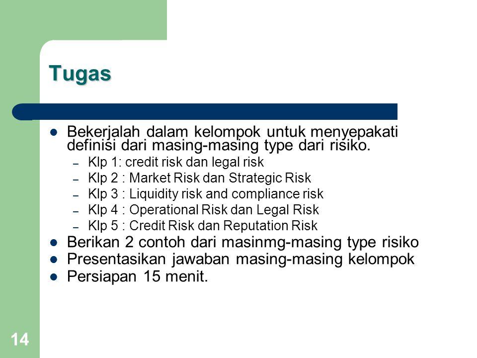 14 Tugas Bekerjalah dalam kelompok untuk menyepakati definisi dari masing-masing type dari risiko.