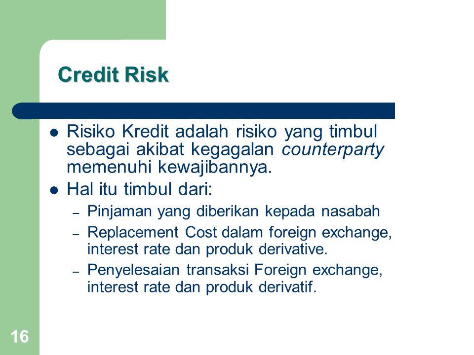 16 Credit Risk Credit Risk Risiko Kredit adalah risiko yang timbul sebagai akibat kegagalan counterparty memenuhi kewajibannya.