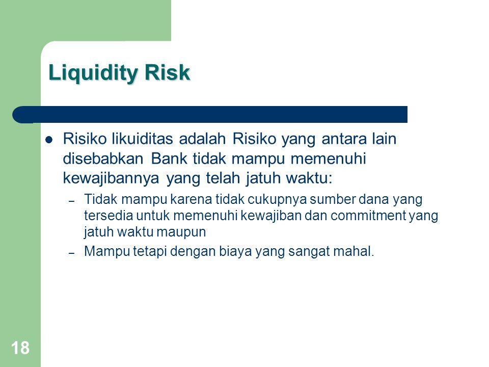 18 Liquidity Risk Risiko likuiditas adalah Risiko yang antara lain disebabkan Bank tidak mampu memenuhi kewajibannya yang telah jatuh waktu: – Tidak mampu karena tidak cukupnya sumber dana yang tersedia untuk memenuhi kewajiban dan commitment yang jatuh waktu maupun – Mampu tetapi dengan biaya yang sangat mahal.