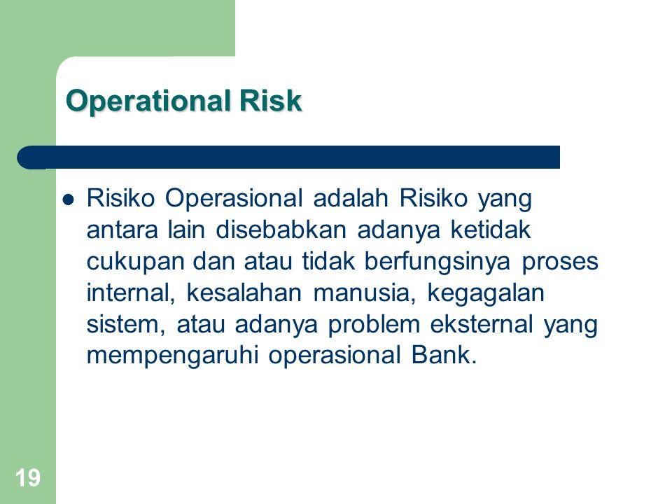 19 Operational Risk Risiko Operasional adalah Risiko yang antara lain disebabkan adanya ketidak cukupan dan atau tidak berfungsinya proses internal, kesalahan manusia, kegagalan sistem, atau adanya problem eksternal yang mempengaruhi operasional Bank.