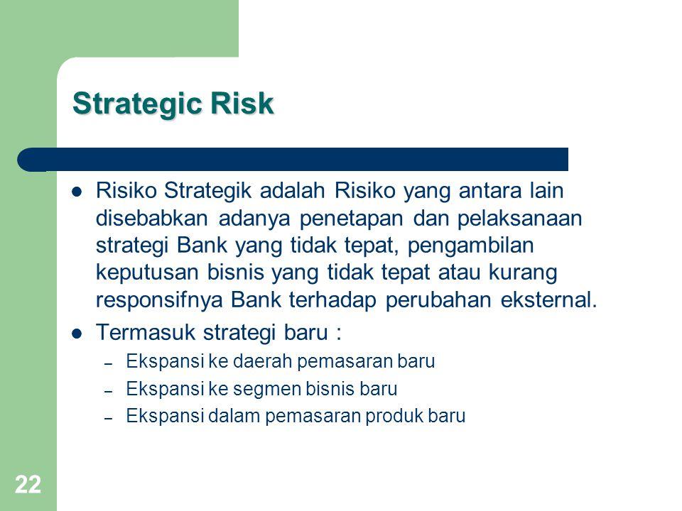 22 Strategic Risk Risiko Strategik adalah Risiko yang antara lain disebabkan adanya penetapan dan pelaksanaan strategi Bank yang tidak tepat, pengambilan keputusan bisnis yang tidak tepat atau kurang responsifnya Bank terhadap perubahan eksternal.