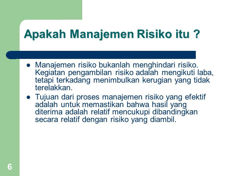 17 Market Risk Market Risk Risiko Pasar adalah Risiko yang timbul karena adanya pergerakan variabel (adverse movement) dari portfolio yang dimiliki oleh Bank, yang dapat merugikan Bank.