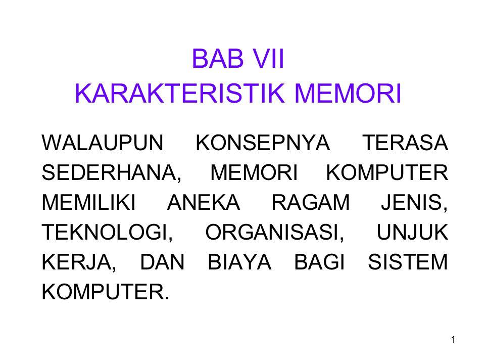 1 BAB VII KARAKTERISTIK MEMORI WALAUPUN KONSEPNYA TERASA SEDERHANA, MEMORI KOMPUTER MEMILIKI ANEKA RAGAM JENIS, TEKNOLOGI, ORGANISASI, UNJUK KERJA, DAN BIAYA BAGI SISTEM KOMPUTER.