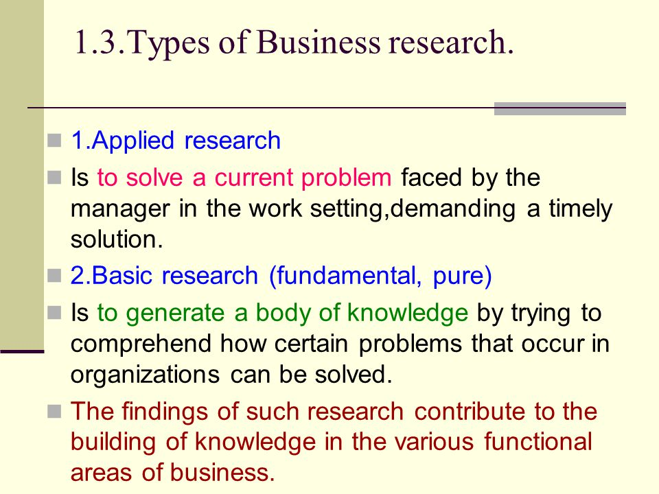 1.3.Types of Business research. 1.Applied research Is to solve a current problem faced by the manager in the work setting,demanding a timely solution.