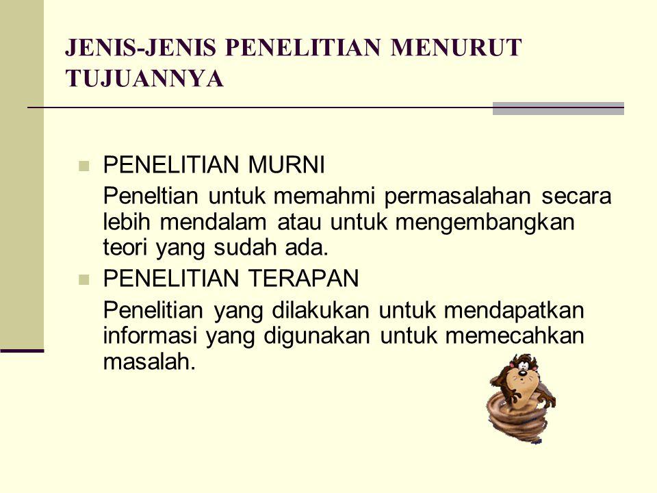 JENIS-JENIS PENELITIAN MENURUT TUJUANNYA PENELITIAN MURNI Peneltian untuk memahmi permasalahan secara lebih mendalam atau untuk mengembangkan teori ya