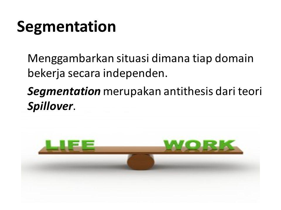 Segmentation Menggambarkan situasi dimana tiap domain bekerja secara independen. Segmentation merupakan antithesis dari teori Spillover.