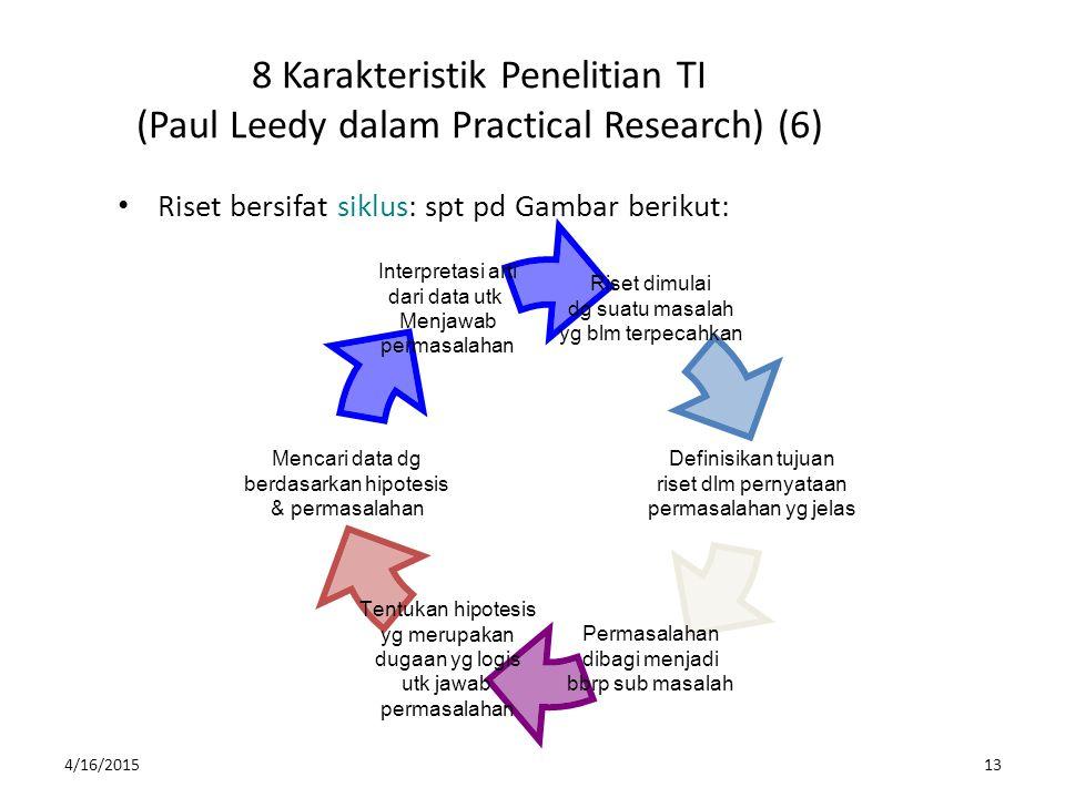 4/16/201513 8 Karakteristik Penelitian TI (Paul Leedy dalam Practical Research) (6) Riset bersifat siklus: spt pd Gambar berikut: Riset dimulai dg sua