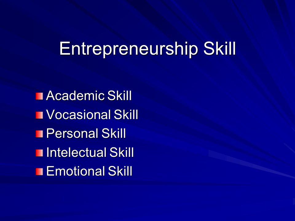 Entrepreneurship Skill Academic Skill Vocasional Skill Personal Skill Intelectual Skill Emotional Skill