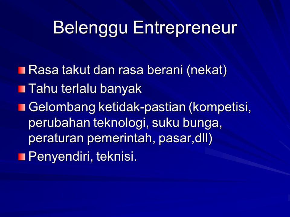 Belenggu Entrepreneur Rasa takut dan rasa berani (nekat) Tahu terlalu banyak Gelombang ketidak-pastian (kompetisi, perubahan teknologi, suku bunga, peraturan pemerintah, pasar,dll) Penyendiri, teknisi.