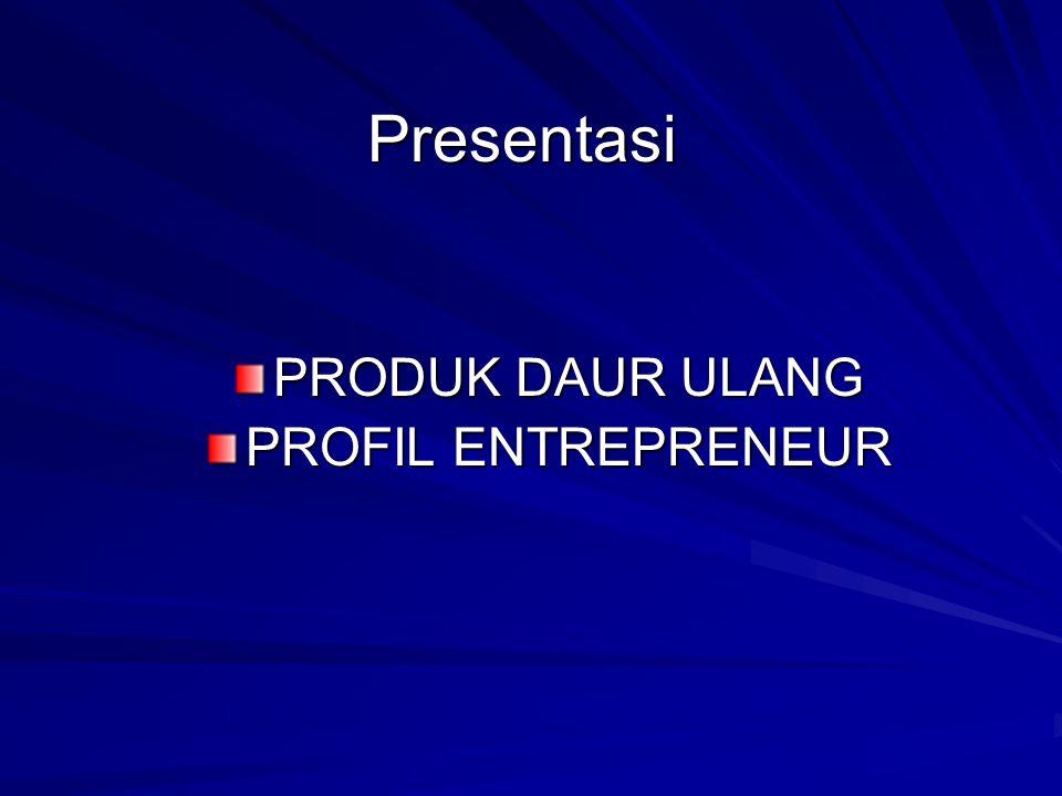 Presentasi PRODUK DAUR ULANG PROFIL ENTREPRENEUR
