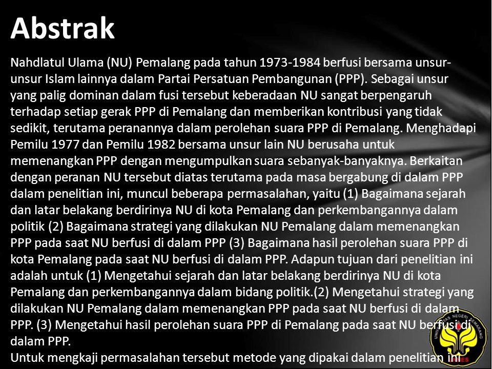 Kata Kunci Nahdlatul Ulama, Perolehan suara, Partai Persatuan Pembangunan