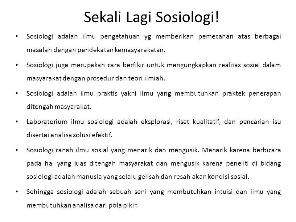 Sekali Lagi Sosiologi.