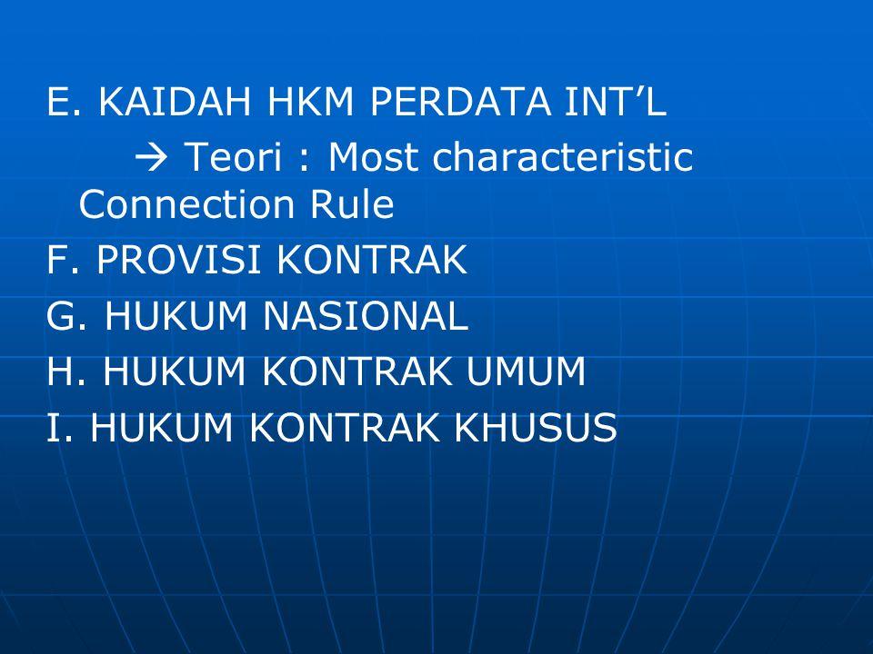 E. KAIDAH HKM PERDATA INT'L  Teori : Most characteristic Connection Rule F. PROVISI KONTRAK G. HUKUM NASIONAL H. HUKUM KONTRAK UMUM I. HUKUM KONTRAK