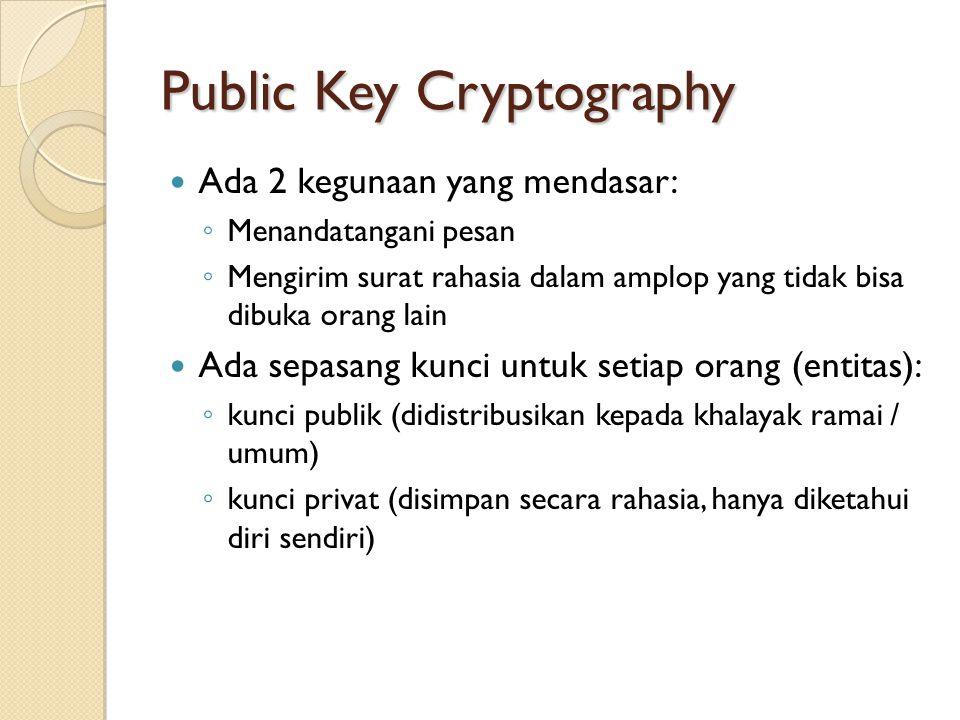 Public Key Cryptography Ada 2 kegunaan yang mendasar: ◦ Menandatangani pesan ◦ Mengirim surat rahasia dalam amplop yang tidak bisa dibuka orang lain Ada sepasang kunci untuk setiap orang (entitas): ◦ kunci publik (didistribusikan kepada khalayak ramai / umum) ◦ kunci privat (disimpan secara rahasia, hanya diketahui diri sendiri)