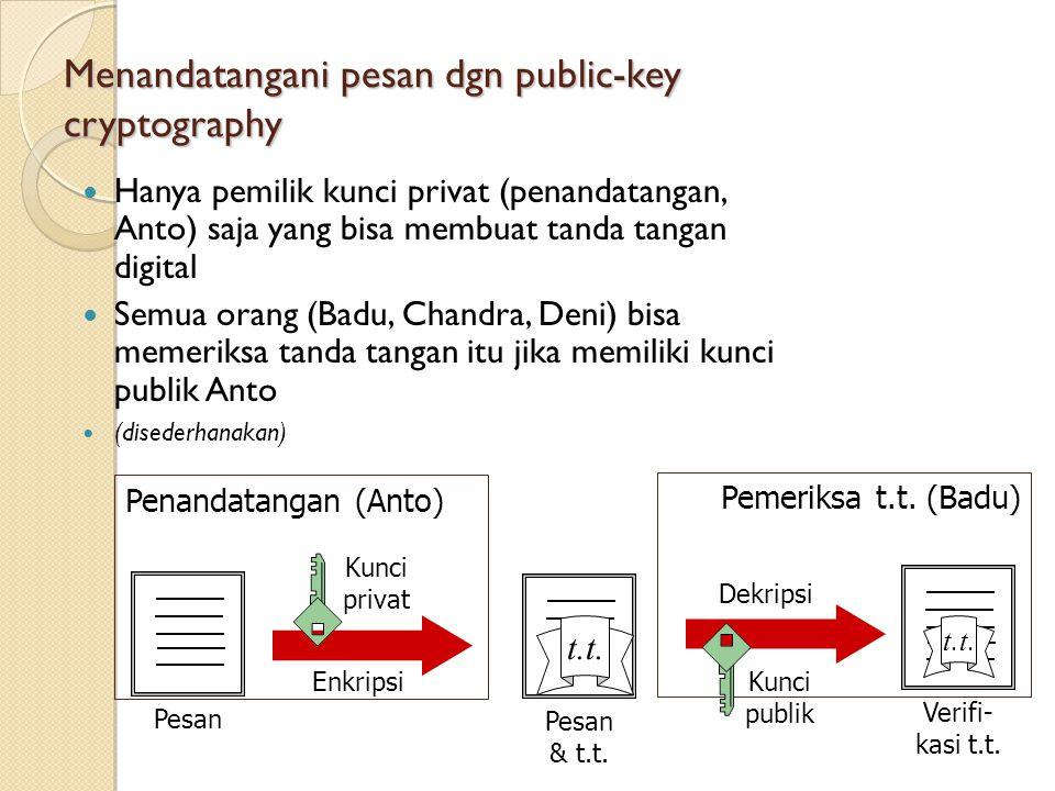 Menandatangani pesan dgn public-key cryptography Hanya pemilik kunci privat (penandatangan, Anto) saja yang bisa membuat tanda tangan digital Semua orang (Badu, Chandra, Deni) bisa memeriksa tanda tangan itu jika memiliki kunci publik Anto (disederhanakan) Penandatangan (Anto) Pemeriksa t.t.