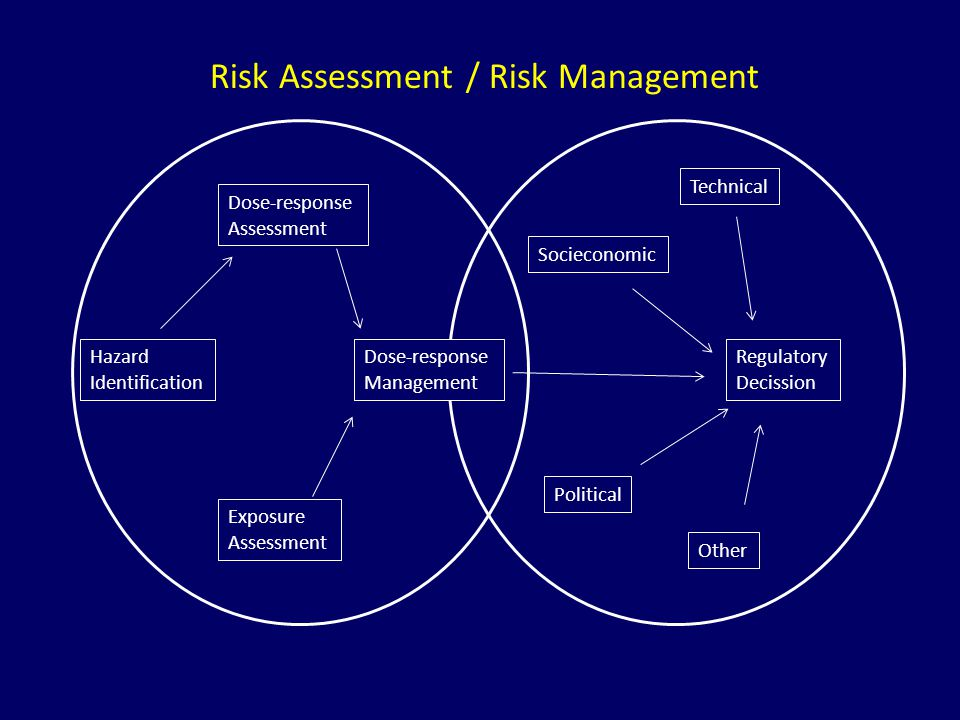 Risk Assessment / Risk Management Dose-response Assessment Hazard Identification Dose-response Management Exposure Assessment Technical Socieconomic Regulatory Decission Political Other