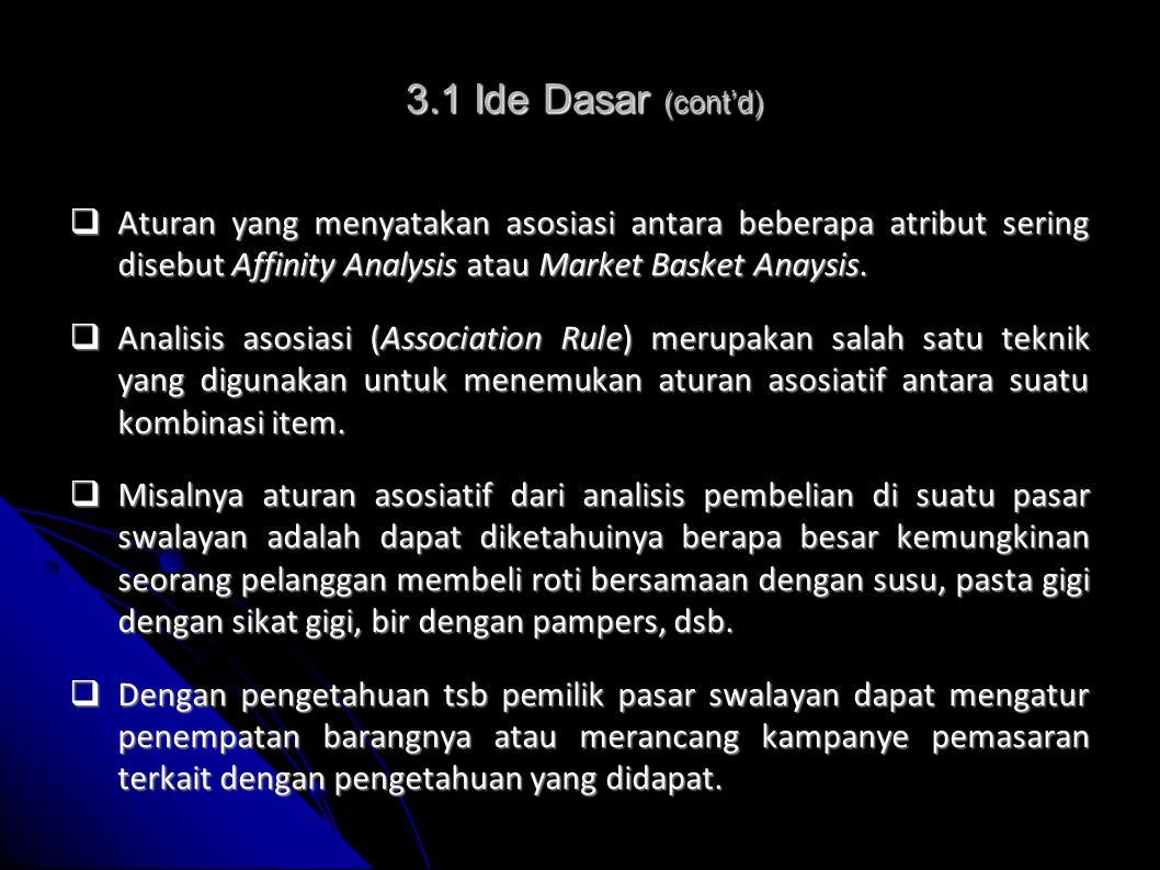  Aturan yang menyatakan asosiasi antara beberapa atribut sering disebut Affinity Analysis atau Market Basket Anaysis.  Analisis asosiasi (Associatio