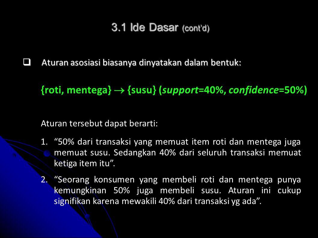 Support = P (A  B) = Nilai confidence dari aturan A  B diperoleh dengan: Confidence = P (B | A) = Nilai support dari aturan A  B diperoleh dengan: 3.2 Rumus Dasar