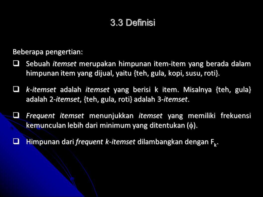 Calon 2-itemset Calon 3-itemset Jika  = 2, maka: F 2 = { {teh, gula}, {gula, kopi}, {gula, susu}, {gula, roti}, {kopi, susu}, {susu, roti}} F 3 = { {gula, susu, kopi} } 5 C 2 = 10 5 C 3 = 10 3.3 Definisi (cont'd)